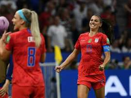 Alex Morgan scored the winning goal and thanked her goalkeeper. AFP