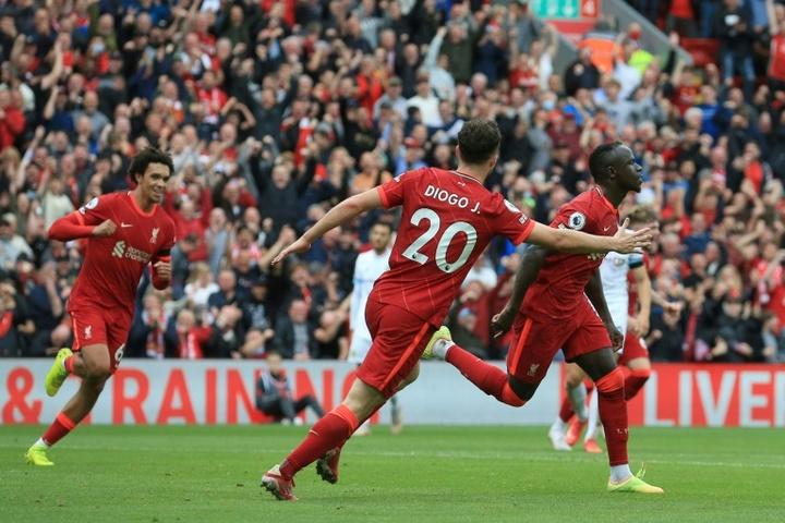Sadio Mane's goal against Burnley. AFP