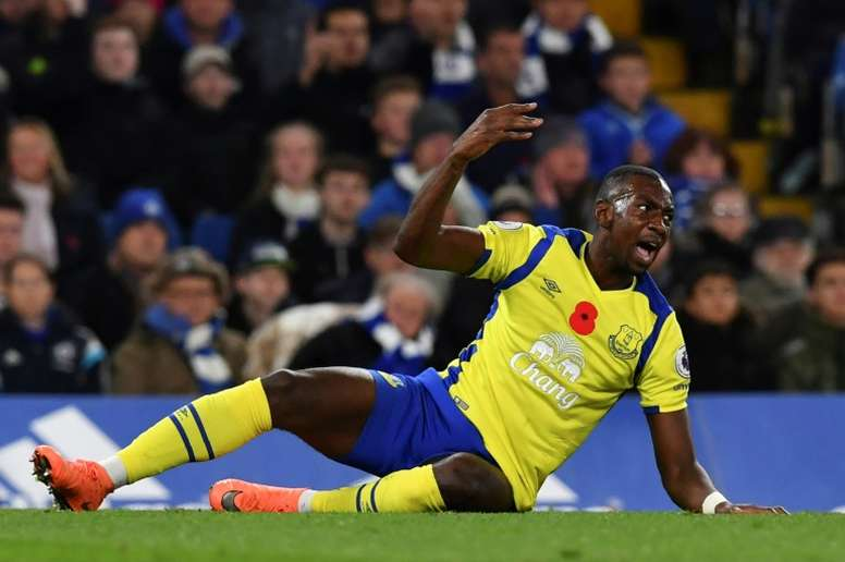 AN Everton player lying on the floor. AFP