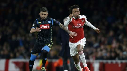 Alex Iwobi playing for Arsenal against Napoli. AFP