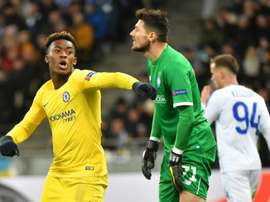 Hudson-Odoi after scoring in Kiev. AFP