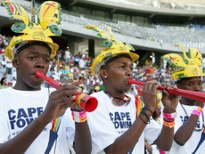 The Vuvuzela orchestra performs during an Ajax Cape Town match on January 23, 2010