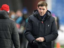Gerrard celebrates his 150th match as Rangers manager. AFP