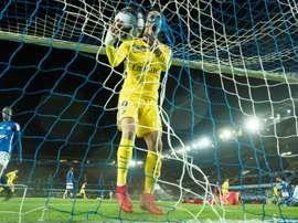 Cavani celebrates scoring against Strasbourg. AFP