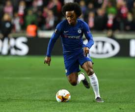 Willian won the Europa League with Chelsea this season. AFP