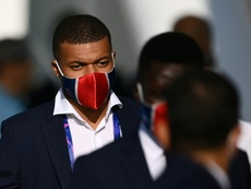 Kylian Mbappe is on the bench for PSG's Champions League quarter-final tie with Atalanta. AFP