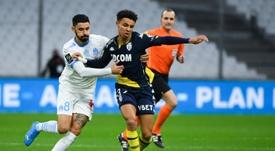 Marseille midfielder Morgan Sanson (L) is on the radar of Aston Villa. AFP