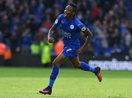 Leicester City's Ahmed Musa celebrates after scoring the opening goal against Crystal Palace. AFP