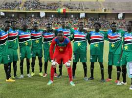 South Sudans players pose on June 13, 2015 in Bamako during their 2017 African Cup of Nations qualification football match between Mali and South Sudan