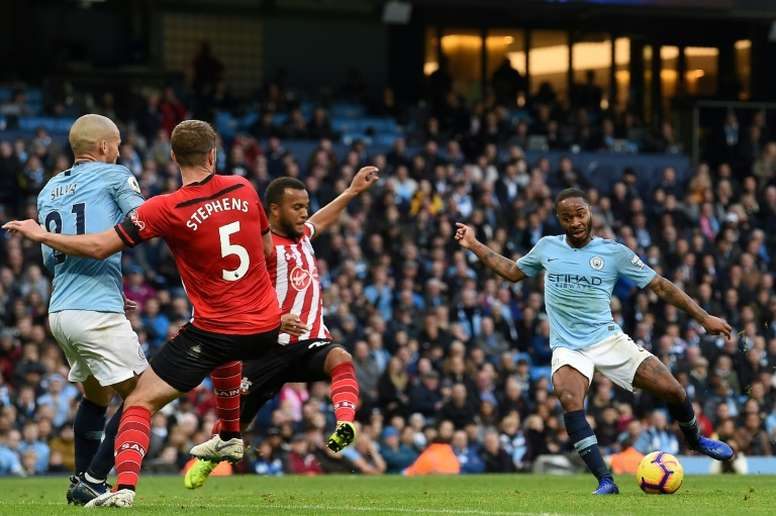Raheem Sterling scored his 50th goal for City in his 100th win for the club. AFP