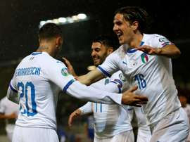 Bernardeschi (L) opened the scoring for Italy in rout of Liechtenstein. AFP