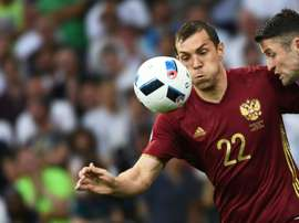 Russian forward Artem Dzyuba in action against England during the Euro 2016 group B match in Marseille on June 11, 2016