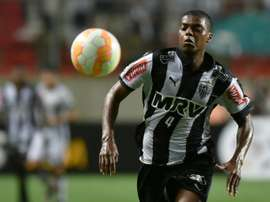 Brazilian defender Jemerson in action for Atletico Mineiro during a 2015 Libertadores Cup match against Mexican side Atlas