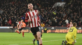 Oliver McBurnie scored the only goal of the game in Sheff Utd's win over West Ham. AFP