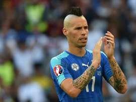 Hamsik podría quedarse sin Mundial, incluso sin repesca. AFP/Archivo