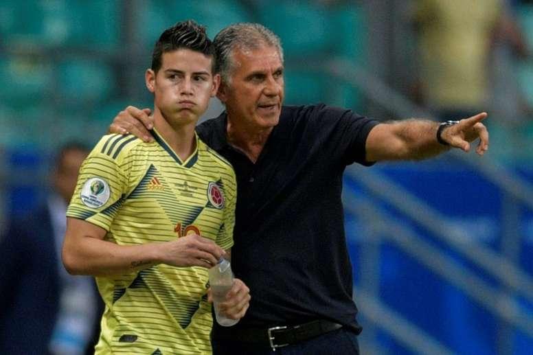 Carlos Queiroz justificó la ausencia de James Rodríguez. AFP