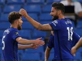 Olivier Giroud marcou o único gol da vitória do Chelsea sobre o Norwich. AFP