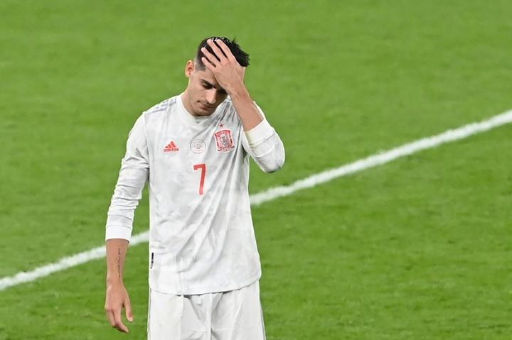 Morata dévasté par l'élimination de l'Espagne. afp