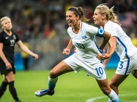 World Player of the Year Carli Lloyd (C) opened the scoring for the USA