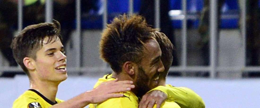 Dortmunds players celebrate a goal during a UEFA Europa League group C football match against Qabala in Baku on October 22, 2015