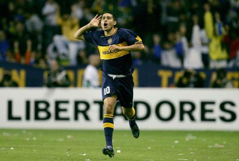 Riquelme foi o protagonista da sexta Libertadores do Boca Juniors. AFP