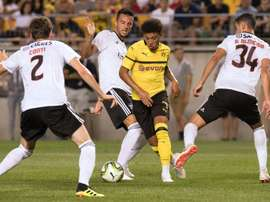 Jadon Sancho took his tally to a goal and 5 assists in 6 Bundesliga matches. AFP
