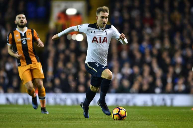 Tottenham Hotspurs Christian Eriksen, seen in action during their English Premier League match against Hull City, at White Hart Lane in London, on December 14, 2016
