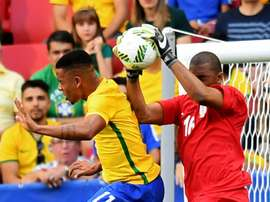 Gabriel Jesus (L) in action for Brazil at the Olympic Games. AFP