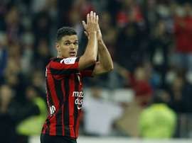 Nices forward Hatem Ben Arfa acknowledges applause from supporters as he leaves the pitch following the French L1 football match Nice vs Reims on April 22, 2016 at the Allianz Riviera stadium in Nice, France