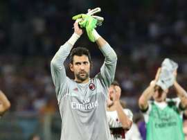 Milans goalkeeper Diego Lopez, pictured on August 23, 2015, had been under fire for a series of under-par displays for the struggling Serie A giants