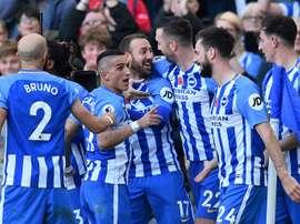 Os jogadores do Brighton puderam celebrar no final do jogo. AFP
