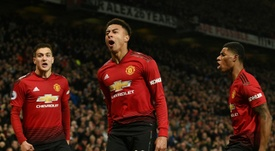 Jesse Lingard celebrates his second-half strike.  AFP