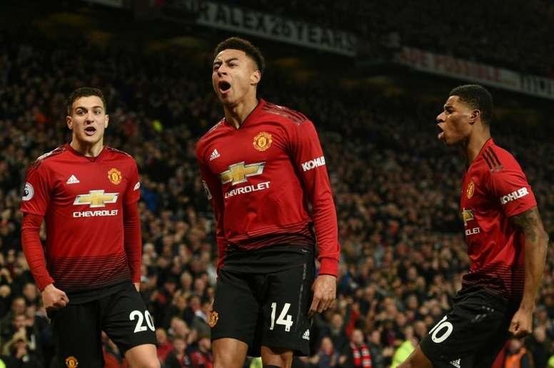 Manchester United midfielder Jesse Lingard celebrates his equaliser in a 2-2 draw with Arsenal. AFP