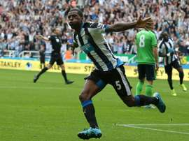 Newcastle Uniteds midfielder Georginio Wijnaldum celebrates scoring their second goal during an English Premier League football match against Southampton at St James Park in Newcastle-upon-Tyne, north east England, on August 9, 2015
