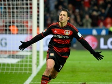 Leverkusens Mexican forward Javier Hernandez (Chicharito) celebrates after scoring during a German first division Bundesliga football match against Hannover 96 on January 30, 2016