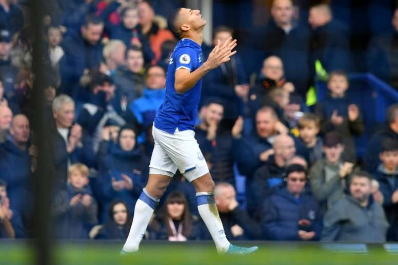Richarlison scored in the opener in Everton's vital victory over Lampard's Chelsea. AFP