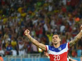 US defender Geoff Cameron celebrates after US defender John Brooks scored during a Group G football against Ghana during the 2014 FIFA World Cup on June 16, 2014