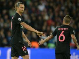 PSGs Zlatan Ibrahimovic (L) and Marco Verratti during the Champions League match against Malmo on September 15, 2015 at the Parc des Princes stadium