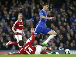 Chelsea fez Middlesbrough 'descer' e fica a um triunfo do título. AFP