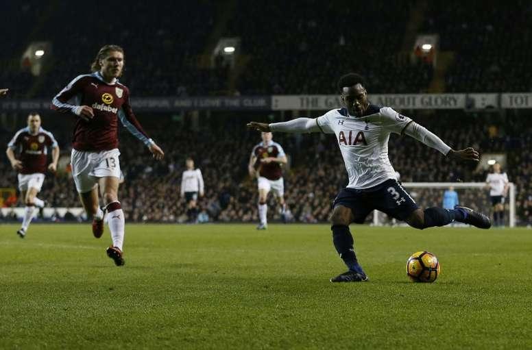 Tottenham Hotspur defender Danny Rose (R) scores against Burnley. AFP