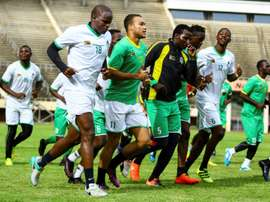 Zimbabwes national football team (The Warriors) players attend a training session at the National Sports Stadium in Harare, on January 6, 2017, ahead of the upcoming 2017 Africa Cup of Nations in Gabon
