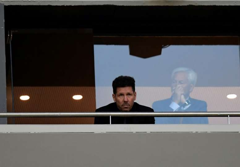 Simeone was refused permission to sit on the bench. AFP