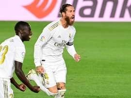 Sergio Ramos bateu recorde histórico de gols no Campeonato Espanhol. AFP