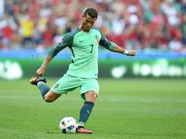 Portugals forward Cristiano Ronaldo kicks the ball during the Euro 2016 match between Hungary and Portugal on June 22, 2016