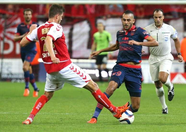 El defensa del Reims Weber, en un partido de Ligue 1. AFP