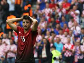 Turkeys midfielder Ozan Tufan reacts during the Euro 2016 match between Turkey and Croatia in Paris on June 12, 2016