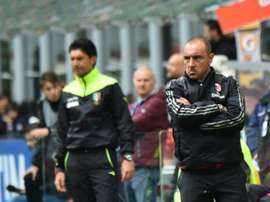 AC Milans coach Cristian Brocchi looks on before the Italian Serie A football match AC Milan vs Frosinone at San Siro Stadium in Milan on May 1, 2016