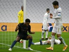 Raheem Sterling scored City's third at the Stade Velodrome. AFP