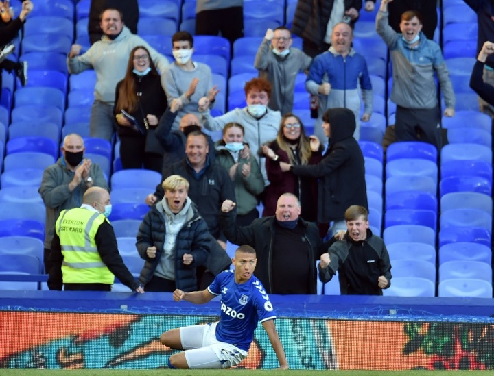 Richarlison scored the only goal of the game for Everton. AFP