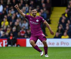 Aguero scored in City's 6-0 win over Watford. AFP